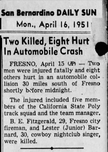 Junior Barnard's death noted in news story. 1951