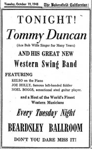 Tommy Duncan starts new band. October 1948